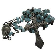 Tiny Rosary Baby Blue Beads