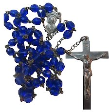 Brilliant Sapphire Blue Glass Beads Rosary