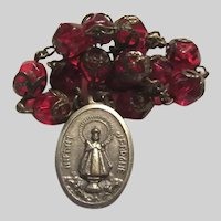 Infant of Prague Jesus Sacred Heart Medal Chaplet Red Rosary