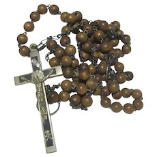 Rare Nun's Old Franciscan Rosary Large Beads 7 Decades With Original Hanging Rings