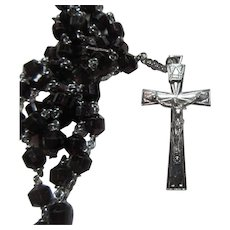 Deep Red Glass Sterling Silver Rosary Prayer Beads
