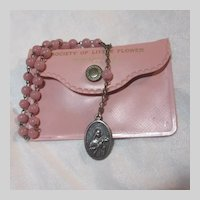 St Therese Lisieux Little Flower of Jesus  Pink Chaplet Rosary Original Case