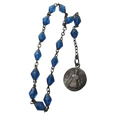 Infant of Prague Blue Glass Novena Chaplet Rosary