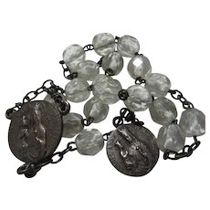 French St Anne Chaplet Rosary Glass Beads Beautiful Medals