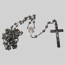 Fine Sterling Silver Rosary Jesus Sacred Heart Scapular Center Medal