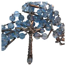 Sterling Silver Blue Glass Crystals Rosary Italian