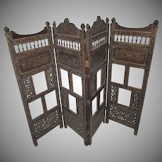 Antique Folding Wood Screen Brass Inlay Oriental 37 Inch Tall Furniture Accessory