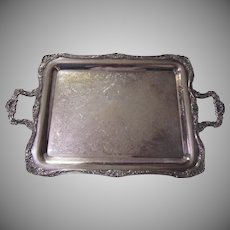 Large Heavy Fine Silverplate Tray Footed