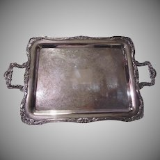 Large Heavy Old Silverplate Footed Tray