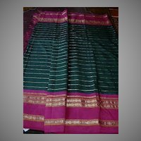 Indian Sari Fine Textile Fabric Dark Green India Decorator & Ethnic Middle Eastern Clothing