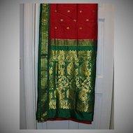 Vintage Indian Sari Raspberry Red Silk & Green Fine Textiles Fabric of India