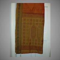 Vintage Indian Sari Saffron Orange & Cinnamon Cotton Fine Textiles Fabrics of India