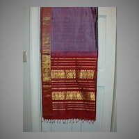 Vintage Indian Sari Lavender Silk Violet & Dusty Rose Fine Textiles Fabrics of India