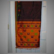 Vintage Indian Sari Eggplant Silk Fine Textiles Fabric of India