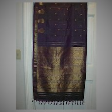 Vintage Indian Sari Iridescent Purple Silk Fine Textiles Fabric of India
