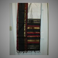 Vintage Indian Sari White Black Plaid Silk Fine Textiles Fabric of India