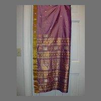 Vintage Indian Sari Lavender Silk Fine Textiles Fabric of India