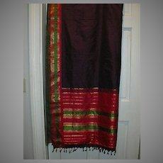 Vintage Indian Sari Eggplant Silk Green & PInk Fine Textiles Fabric of India