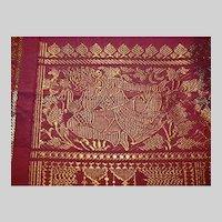 Deep Rose Red Silk Sari Gold Dancing Dakinis Fine Fabric of India