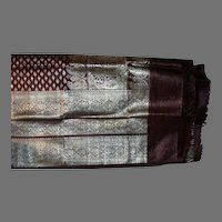 Deep Cranberry Wine Heavy Silk Satin Sari With Silver Borders and Decorations Fine Fabric India