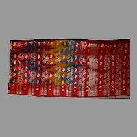 Sari Ikat Heavy Silk Or Blend Brocade Multicolor Fine Fabric From India