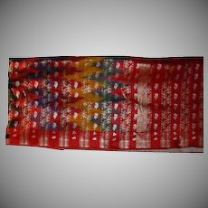 Sari Ikat Heavy Silk Or Blend Brocade Multicolor Fine Fabric From India