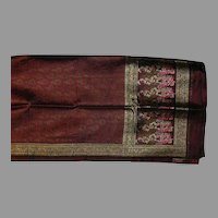 Deep Rose Pink and Green Floral Brocade Sari with Gold and Rose Pink Borders Fine Fabric India