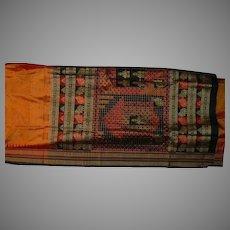 Orange Silk Broadcloth Sari With Red Black Matte Gold Ikat Elephants Temples Fine Fabric India