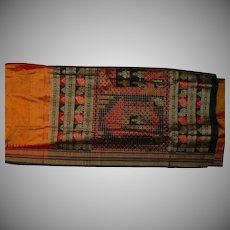 Orange Silk Broadcloth Sari With Red Black Matte Gold Ikat Elephants Temples Fine Fabric India
