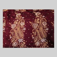 Cranberry Maroon and Green Sari With Gold and Silver Beading Fine Fabric India
