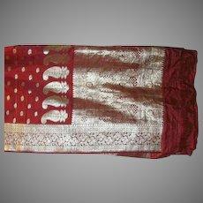 Rich Red Pure Silk Heavy Satin Sari With Silver Pallou and Borders Fine Fabric India