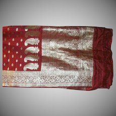Rich Red Pure Silk Heavy Satin Sari With Silver Pallou and Borders Fine Fabric India