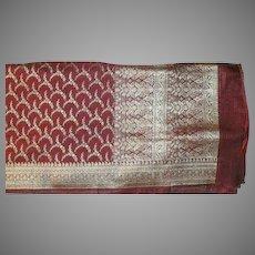 Cranberry Red Charmeuse Satin Pure Silk Sari With Silver Pallou and Border Fine Fabric India