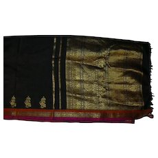 Black Pure Silk Sari With Gold Pallou and PInk and Orange Accents Fine Fabric India