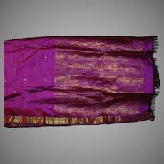 Violet Purple Pure Silk Sari Gold Borders and Designs Fine Fabric India
