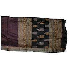 Purple Black Check Cotton Sari with Fancy Medallions Pallou and Decorations on Black