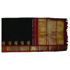 Black Kanchi Pure Silk Sari With Hot Pink and Shiny Gold and Peacocks Fine Fabric India