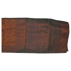 Cinnamon and Black Silk Organza Sari Sheer with Decorations Fine Fabric India