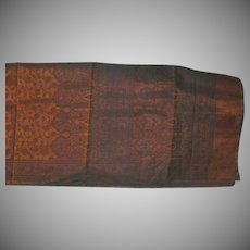 Cinnamon and Black Silk Organza Sari Sheer with Decorations Fine Fabric India