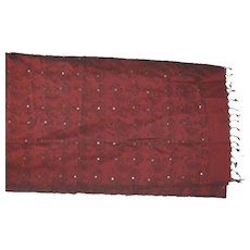 Indian Red Cotton With Black Decorations and Shishi Mirrors Sari Fabric India
