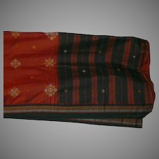 Brick Red Black Tan Cotton Sari Fabric India Hand Embroidery