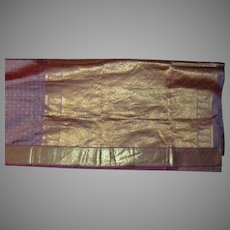 Violet Silk and Shiny Gold Sari Fabric India