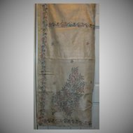 Vintage Indian Sari Cream Silk & Hand Embroidered Flowers Fine Textiles Needlework Fabric of India