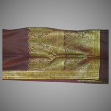 KEEP  Maroon Silk Satin Sari With Black Decorations Woven Allover and Fancy Pallou India Fabric