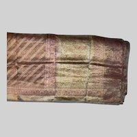 Gold Zari Sari Red Accents Sheer Fabric India