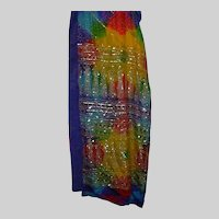 Multicolor Silk Sari With Gold Sequins Tie Dye Style fabric India