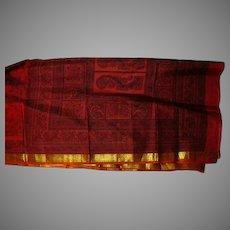 Red Black Shiny Gold Tie Dye Pure Silk Sari Fabric India