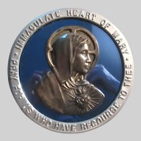 Virgin Mary Immaculate Heart Wall Plaque Blue Glass