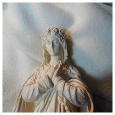 French Pipe Clay Virgin Mary Lourdes Statue