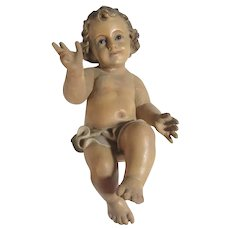 Large Old Infant Jesus Glass Eyes  with Crib
